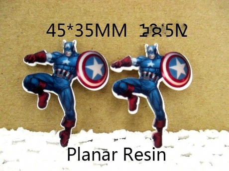 5 x 35mm NEW CAPTAIN AMERICA LASER CUT FLAT BACK RESIN HEADBANDS BOWS PLAQUES